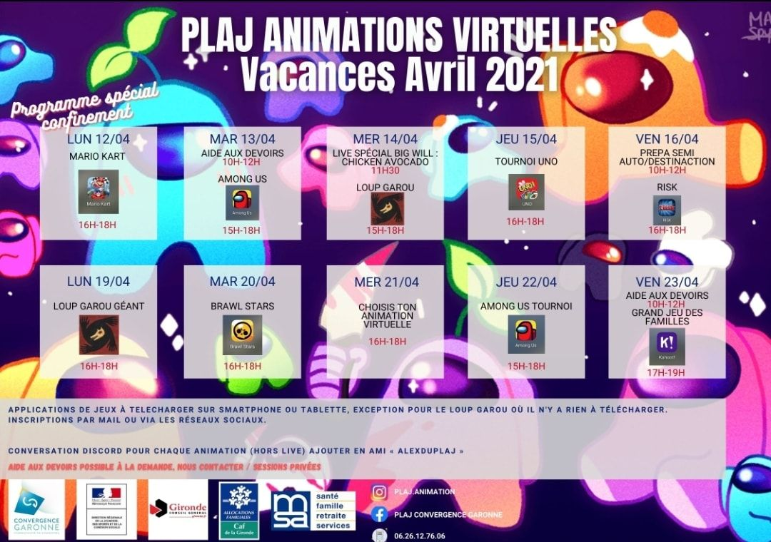 Programme d'animations virtuelles - Vacances d'Avril 2021